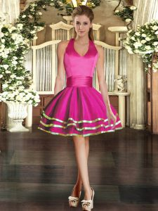 Shining Tulle Halter Top Sleeveless Lace Up Ruffled Layers Dress for Prom in Fuchsia