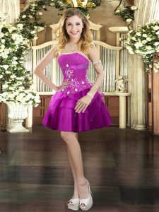 Fuchsia Ball Gowns Tulle Strapless Sleeveless Beading and Ruffled Layers Mini Length Lace Up Prom Dresses