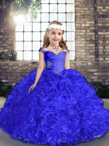 Nice Royal Blue Sleeveless Beading Floor Length Pageant Dress for Womens
