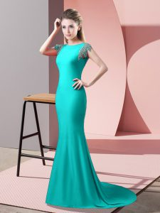 Short Sleeves Brush Train Beading Backless Prom Dresses