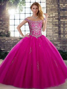 Simple Fuchsia Lace Up 15 Quinceanera Dress Beading Sleeveless Floor Length