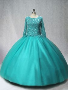Long Sleeves Tulle Floor Length Lace Up Sweet 16 Dress in Turquoise with Beading