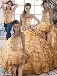 Amazing Gold Sleeveless Organza Brush Train Lace Up Quinceanera Gown for Sweet 16 and Quinceanera