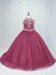 Burgundy Tulle Lace Up Scoop Sleeveless Quince Ball Gowns Brush Train Beading