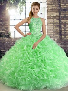 Green Sleeveless Fabric With Rolling Flowers Lace Up Quince Ball Gowns for Military Ball and Sweet 16 and Quinceanera