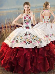 Most Popular Halter Top Sleeveless Lace Up Sweet 16 Quinceanera Dress White And Red Organza