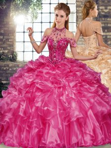 Sweet Fuchsia Organza Lace Up Halter Top Sleeveless Floor Length Quinceanera Gowns Beading and Ruffles