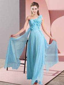 Ideal Aqua Blue Sleeveless Floor Length Hand Made Flower Lace Up Wedding Guest Dresses