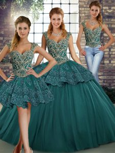 Fancy Floor Length Lace Up Sweet 16 Dress Green for Military Ball and Sweet 16 and Quinceanera with Beading and Appliques
