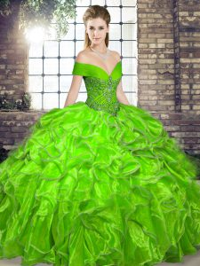 High Class Organza Lace Up Off The Shoulder Sleeveless Floor Length Sweet 16 Quinceanera Dress Beading and Ruffles