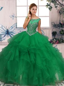 Custom Design Green Sweet 16 Dress Military Ball and Sweet 16 and Quinceanera with Beading and Ruffles Scoop Sleeveless Zipper