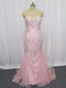 Shining Pink Mermaid Sweetheart Sleeveless Tulle Brush Train Zipper Beading Glitz Pageant Dress