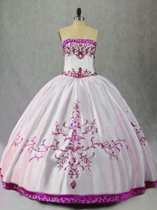 White And Purple Ball Gowns Embroidery Quinceanera Gown Lace Up Taffeta Sleeveless Floor Length