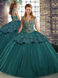 Green Sleeveless Beading and Appliques Floor Length Sweet 16 Dress