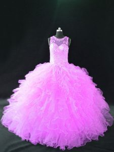 Scoop Sleeveless Lace Up Quinceanera Gowns Lilac Organza