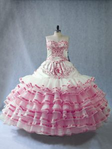 Fantastic Pink And White Sweetheart Lace Up Embroidery and Ruffled Layers and Bowknot Quince Ball Gowns Sleeveless