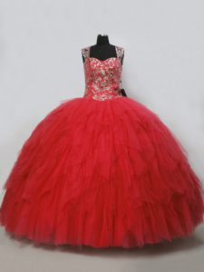 Sleeveless Beading and Ruffles Lace Up Sweet 16 Quinceanera Dress
