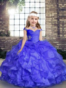 Sweet Blue Straps Neckline Beading and Ruffles Pageant Dress for Womens Sleeveless Lace Up