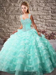 Ball Gowns Sleeveless Aqua Blue Quinceanera Gowns Court Train Lace Up