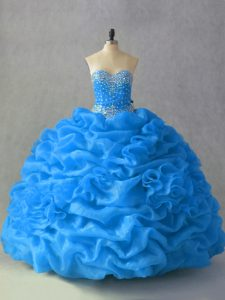 Beauteous Sleeveless Organza Floor Length Lace Up Quinceanera Dresses in Blue with Beading and Pick Ups and Hand Made Flower