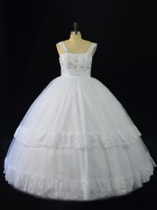 Fantastic White Lace Up Quince Ball Gowns Beading and Appliques Sleeveless Floor Length