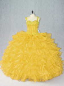 Floor Length Ball Gowns Sleeveless Gold Sweet 16 Dresses Lace Up