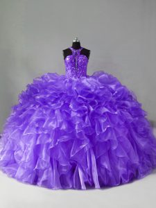 Colorful Brush Train Ball Gowns Quinceanera Gowns Lavender Halter Top Organza Sleeveless Zipper