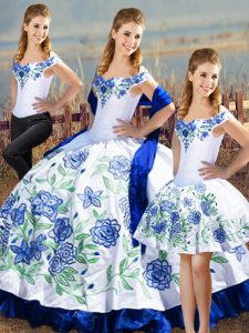Nice Sleeveless Embroidery and Ruffles Lace Up Quinceanera Dress