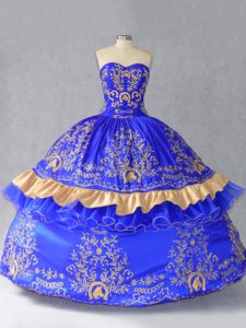 Ball Gowns Vestidos de Quinceanera Royal Blue Sweetheart Satin and Organza Sleeveless Floor Length Lace Up