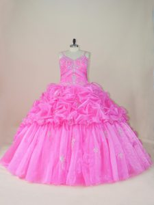 Gorgeous Sleeveless Beading and Appliques and Pick Ups Lace Up Sweet 16 Dress with Baby Pink Brush Train