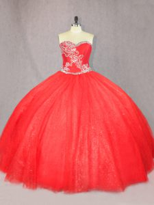 Spectacular Tulle Sweetheart Sleeveless Lace Up Beading Sweet 16 Quinceanera Dress in Red