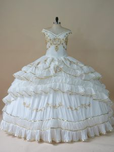 White Ball Gowns Taffeta Off The Shoulder Sleeveless Beading and Embroidery Floor Length Lace Up Quince Ball Gowns