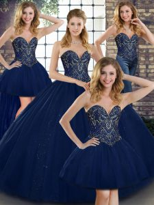 Glamorous Navy Blue Sleeveless Floor Length Beading Lace Up Sweet 16 Dress