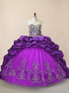 Wonderful Purple Sweet 16 Quinceanera Dress Sweetheart Sleeveless Brush Train Lace Up