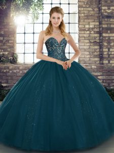 Tulle Sweetheart Sleeveless Lace Up Beading Quince Ball Gowns in Teal
