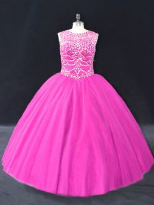 Custom Designed Ball Gowns Quince Ball Gowns Fuchsia Scoop Tulle Sleeveless Floor Length Lace Up