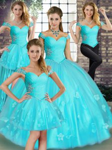 Classical Aqua Blue Ball Gowns Tulle Off The Shoulder Sleeveless Beading and Appliques Floor Length Lace Up Vestidos de Quinceanera