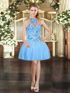 Luxurious Halter Top Sleeveless Prom Gown Mini Length Embroidery Aqua Blue Tulle