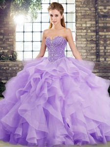Romantic Brush Train Ball Gowns Vestidos de Quinceanera Lavender Sweetheart Tulle Sleeveless Lace Up