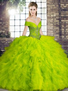 Olive Green Off The Shoulder Lace Up Beading and Ruffles Sweet 16 Dress Sleeveless