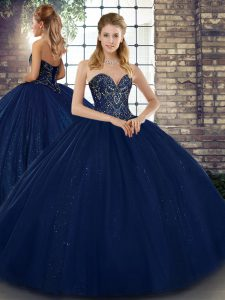 Exceptional Navy Blue Ball Gowns Sweetheart Sleeveless Tulle Floor Length Lace Up Beading 15th Birthday Dress