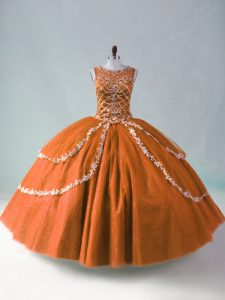Graceful Rust Red Sweet 16 Dresses Sweet 16 and Quinceanera with Beading and Appliques Scoop Sleeveless Zipper