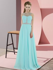 Luxurious Baby Blue Zipper Scoop Beading Pageant Dresses Chiffon Sleeveless