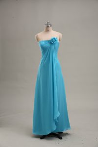 Teal Chiffon Zipper Homecoming Dress Sleeveless Floor Length Hand Made Flower