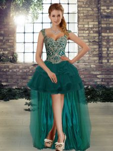 Pretty Dark Green Sleeveless Tulle Lace Up Dress Like A Star for Prom and Party