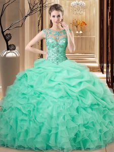 Great Floor Length Apple Green Quinceanera Dresses Scoop Sleeveless Lace Up
