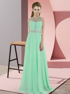 Amazing Apple Green Empire Scoop Sleeveless Chiffon Floor Length Zipper Beading Prom Party Dress