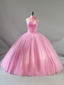 Baby Pink Sleeveless Floor Length Beading Lace Up Quinceanera Dress