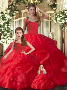 Elegant Red Ball Gowns Tulle Halter Top Sleeveless Ruffles Floor Length Lace Up Quinceanera Gowns
