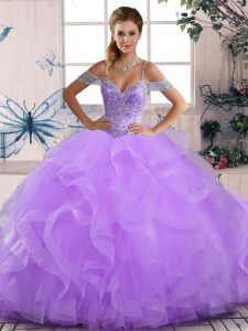 Pretty Lavender Tulle Lace Up Off The Shoulder Sleeveless Floor Length Vestidos de Quinceanera Beading and Ruffles